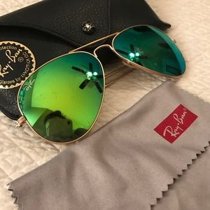 473f43f3af279 Ray-Ban Accessories - Ray-Ban Aviator Green Flash Lens Matte Gold Frame